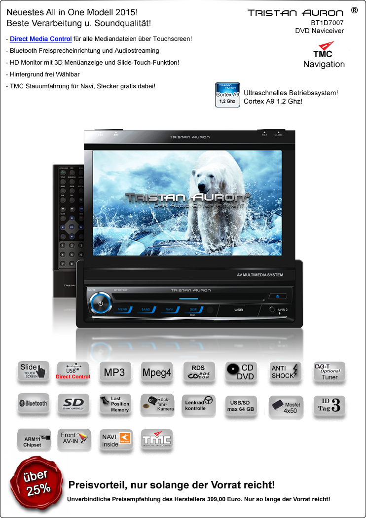 7 navigation gps bluetooth autoradio touchscreen mit dvd. Black Bedroom Furniture Sets. Home Design Ideas
